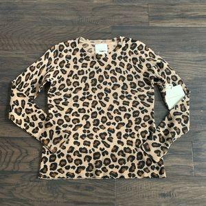 Cynthia Rowley cashmere leopard print sweater